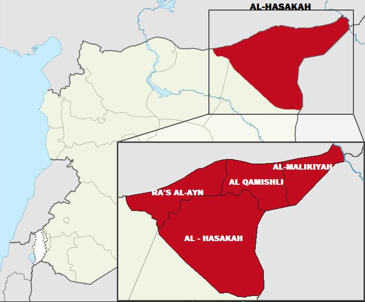 Vị trí tỉnh al-Hasakah ở đông bắc Syria, giáp biên giới với Iraq. Đồ họa: Wikipedia.