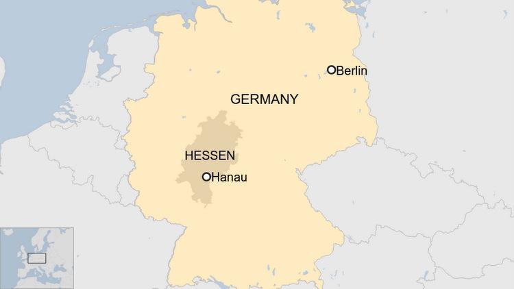 Vị trí thành phố Hanau. Đồ họa: BBC.
