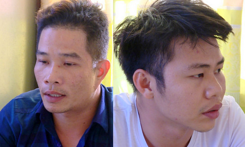 Trí (trái) và Tài tại cơ quan công an. Ảnh: Quang Bình.