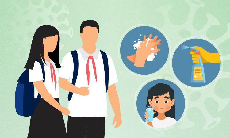 Bộ Y tế hướng dẫn phòng chống dịch cho học sinh. Đồ họa:Tạ Lư