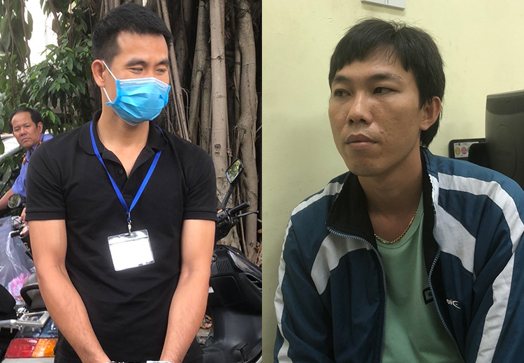 Hai người dưới trướng Luyện bị bắt. Ảnh: Văn Chung.