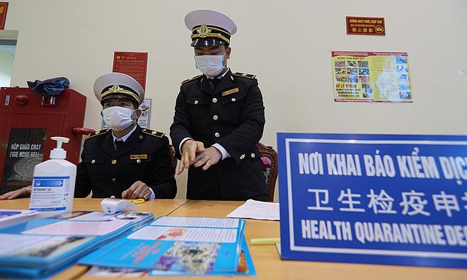 Khu vực khai báo y tế tại cửa khẩu Hữu Nghị, Lạng Sơn, giữa tháng 2. Ảnh: Giang Huy