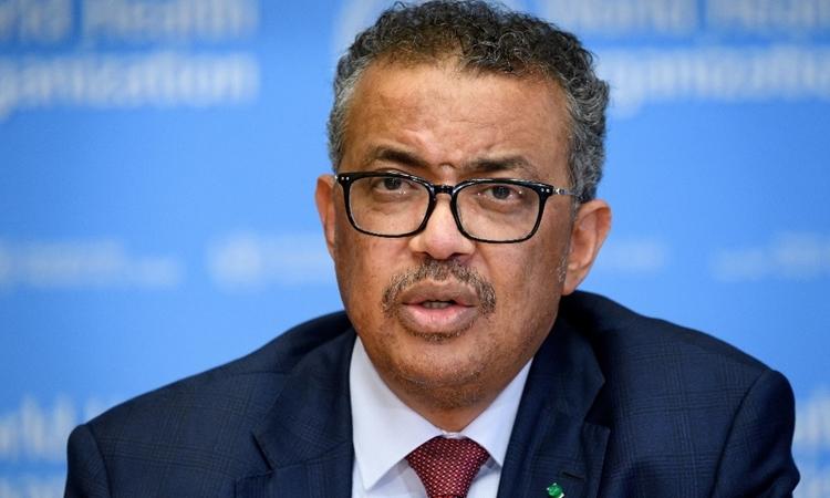Tổng giám đốc Tổ chức Y tế Thế giới (WHO) Tedros Adhanom Ghebreyesus trong cuộc họp ở Geneva hôm 6/3. Ảnh: AFP.
