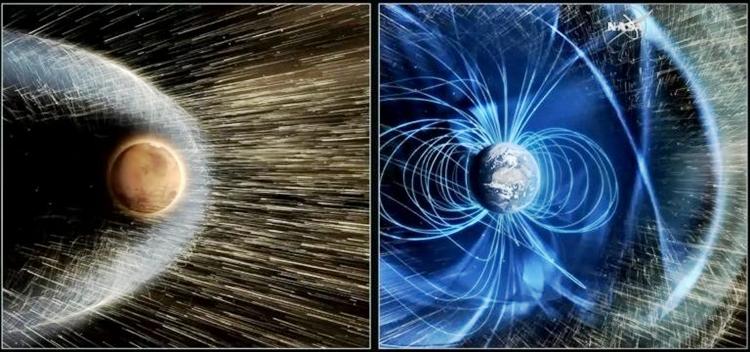 Mô phỏng về sự tương tác giữa gió Mặt Trời, sao Hỏa (trái) và Trái Đất (phải). Ảnh: NASA