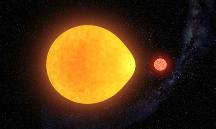 Đồ họa mô phỏng ngôi sao hình giọt nước với ngôi sao lùn đỏ đồng hành. Ảnh: Gabriel Pérez Díaz.