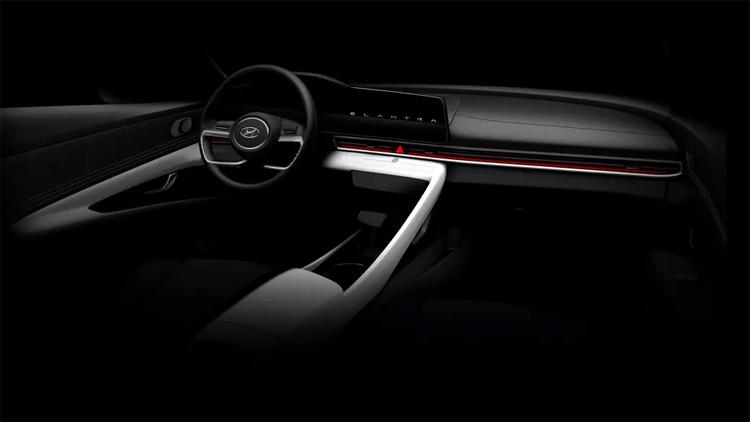 Vô-lăng bốn chấu giống Sonata, màn hình thông tin giải trí đứng sát cụm đồng hồ. Ảnh: Hyundai