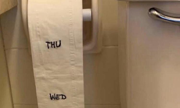 Hình ảnh hài hước nhắc nhở mọi người phải tiết kiệm giấy vệ sinh trong thử thách #stayhomechallenge trên Twitter. Ảnh: Twitter/Tina E.