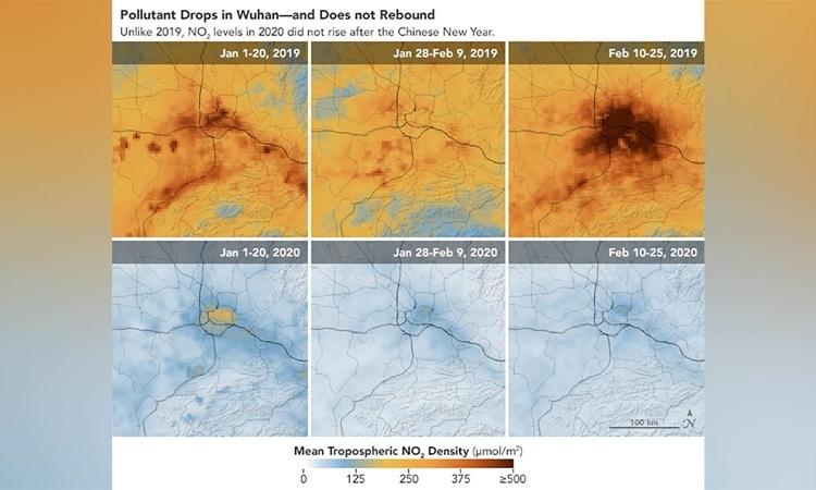 Lượng NO2 ở Vũ Hán, tỉnh Hồ Bắc, Trung Quốc (biểu thị bằng màu vàng) trước và sau khi có lệnh phong tỏa. Ảnh: NASA.