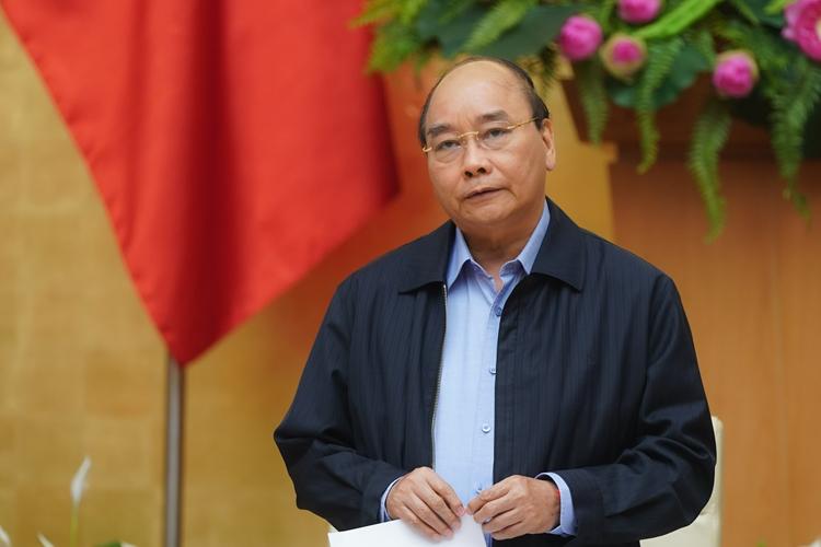 Thủ tướng Việt Nam Nguyễn Xuân Phúc chủ trì cuộc họp chống Covid-19 ngày 16/3 tại Hà Nội. Ảnh: Chinhphu.vn.