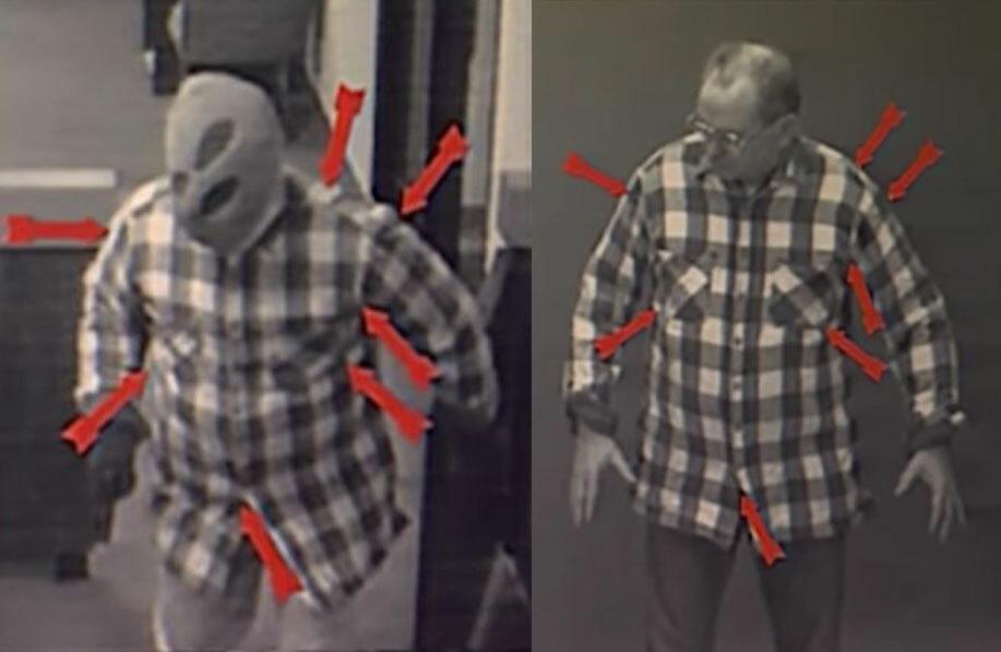 Chuyên gia đối chiếu các điểm ngẫu nhiên tương ứng giữa người mẫu và kẻ cướp. Ảnh: Filmrise.