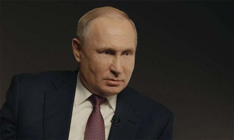 Tổng thống Nga Vladimir Putin trong buổi phỏng vấn với TASS ngày 18/3. Ảnh: TASS.