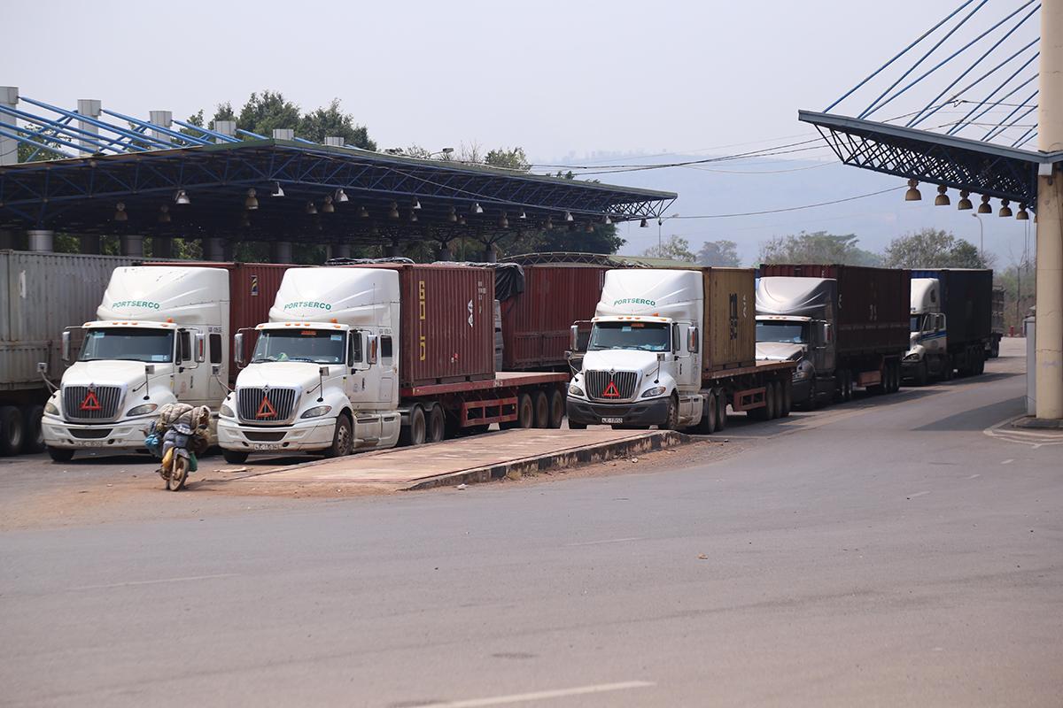 Xe đầu kéo ùn ứ tại Cửa khẩu quốc tế Lao Bảo do quy định mới với tài xế, nhằm phòng chống Covid-19. Ảnh: Hoàng Táo