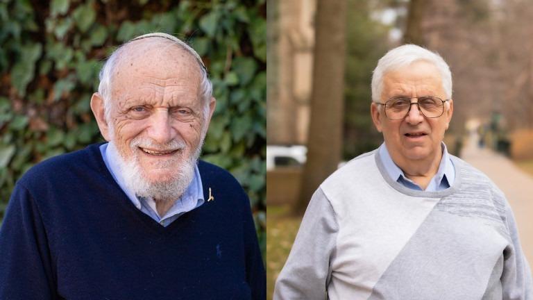 Hai giáo sư toán học Hillel Furstenberg (trái) và Gregory Margulis. Ảnh: Dan Rezetti.
