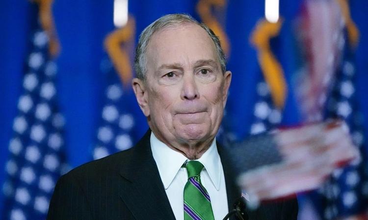 Michael Bloomberg gặp mặt người ủng hộ ở New York sau khi kết thúc chiến dịch tranh cử ngày 4/3. Ảnh: Reuters.
