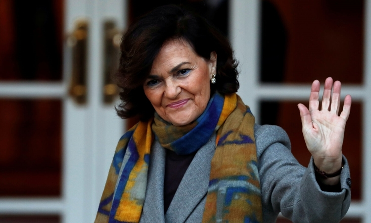 Phó thủ tướng Tây Ban NhaCarmen Calvo tại Madrid hồi tháng một. Ảnh: Reuters.