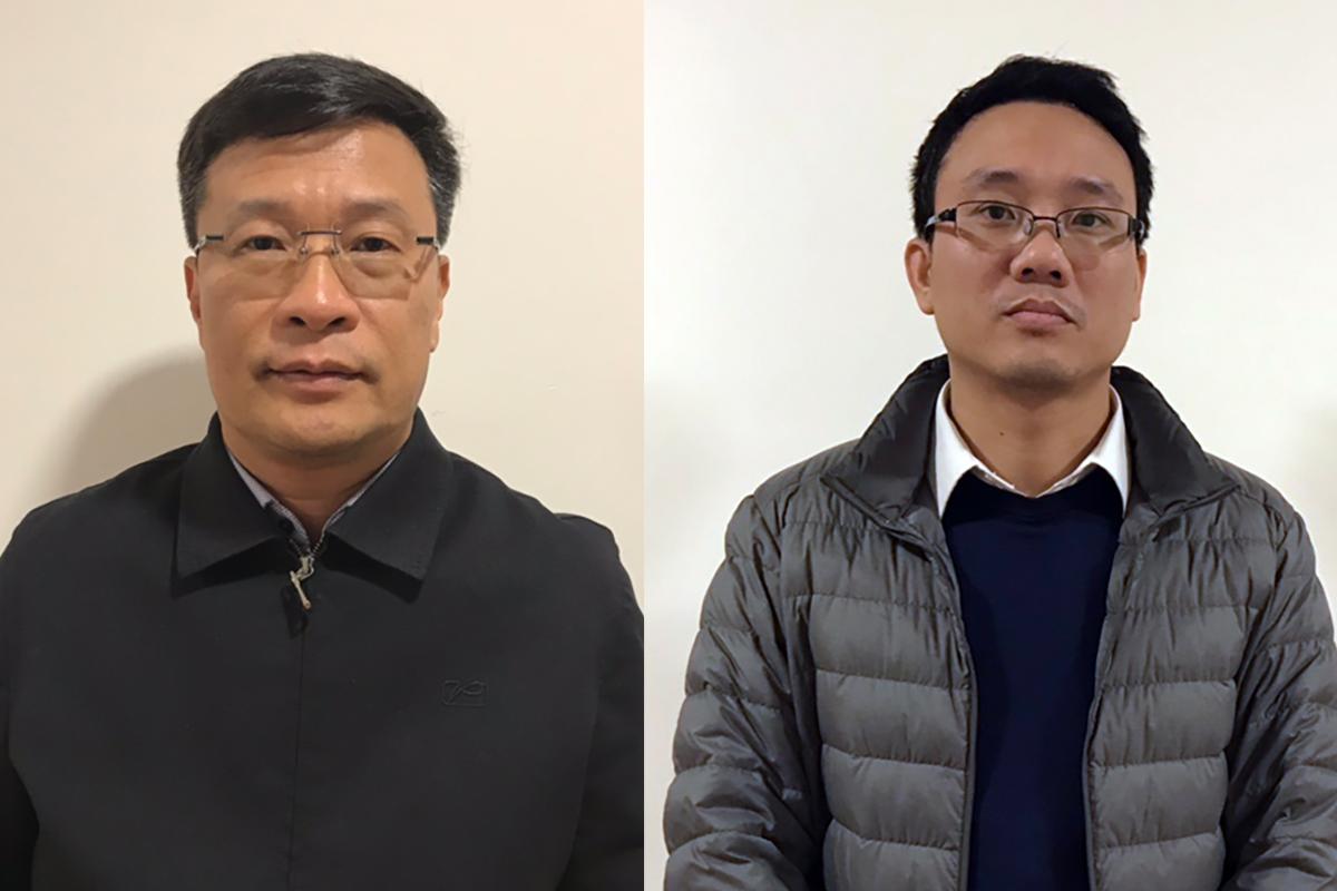 Bị can Ngô Duy Chính (trái) và Đặng Thanh Nam. Ảnh: Bộ Công an.