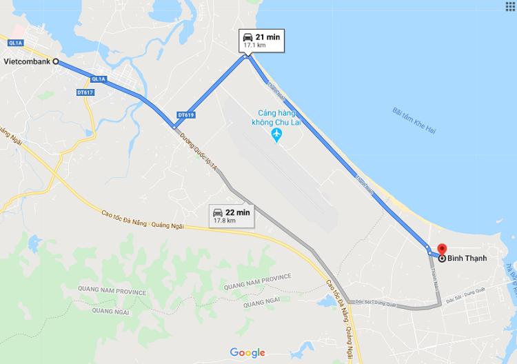 Hai nghi phạm đi vòng xuống xã Bình Thạnh, huyện Bình Sơn sau khi gây ra vụ cướp. Ảnh: Google Maps.