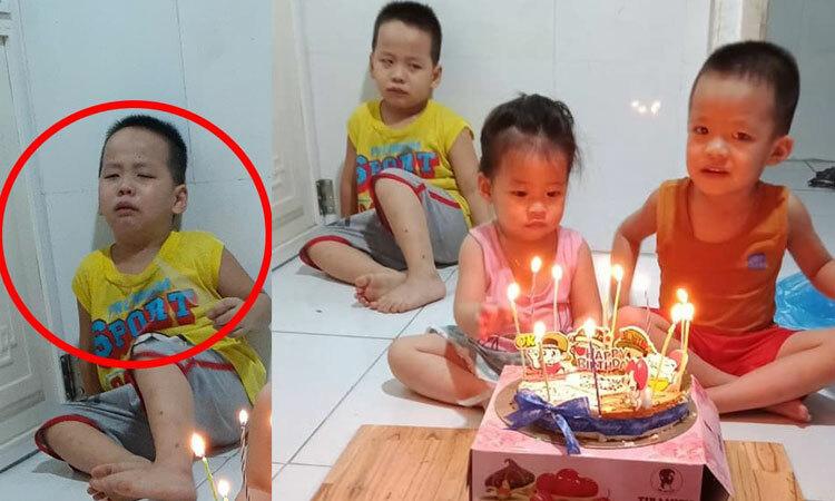 Cậu bé khóc nức nở vì bị hai em chiếm sân khấu trong ngày sinh nhật