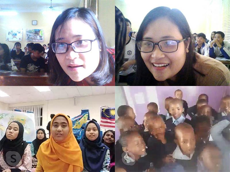 Cô Hà Ánh Phượng kết nối học sinh của mình với học sinh ở nhiều quốc gia khác trong mỗi tiết học tiếng Anh qua ứng dụng Skype. Ảnh: Nhân vật cung cấp.