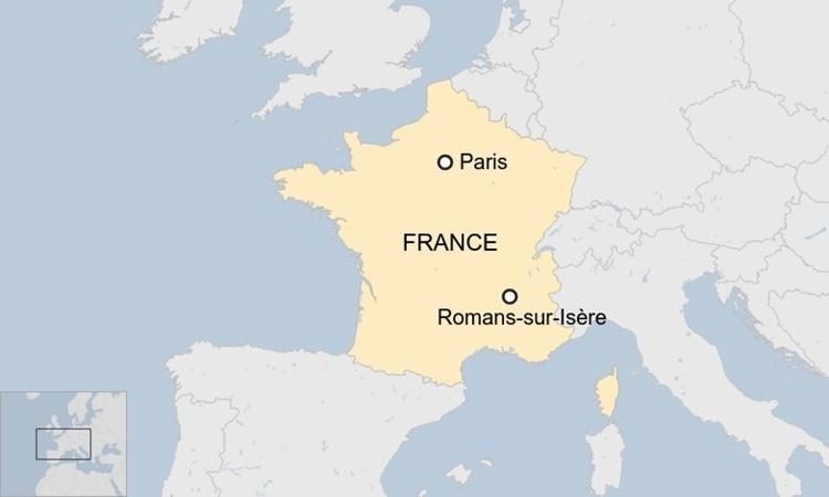 Vị trí thành phố Romans-sur-Isere. Đồ họa: BBC.