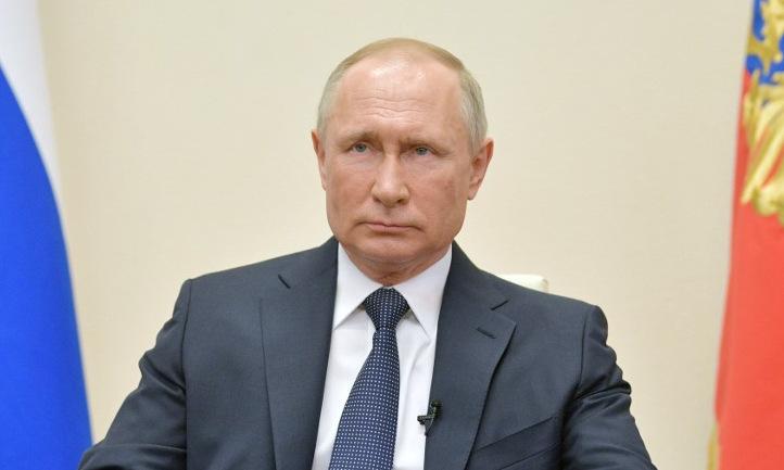 Tổng thống Putin tại nơi làm việc từ xa ở Moskva hôm 2/4. Ảnh: AFP.