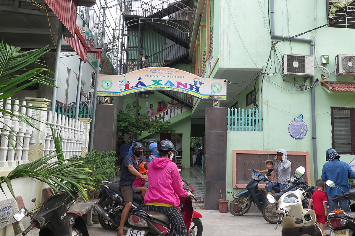 Trường mầm non tư thục Lá Xanh, xã Tú Sơn, huyện Kiến Thụy (Hải Phòng). Ảnh: Giang Chinh
