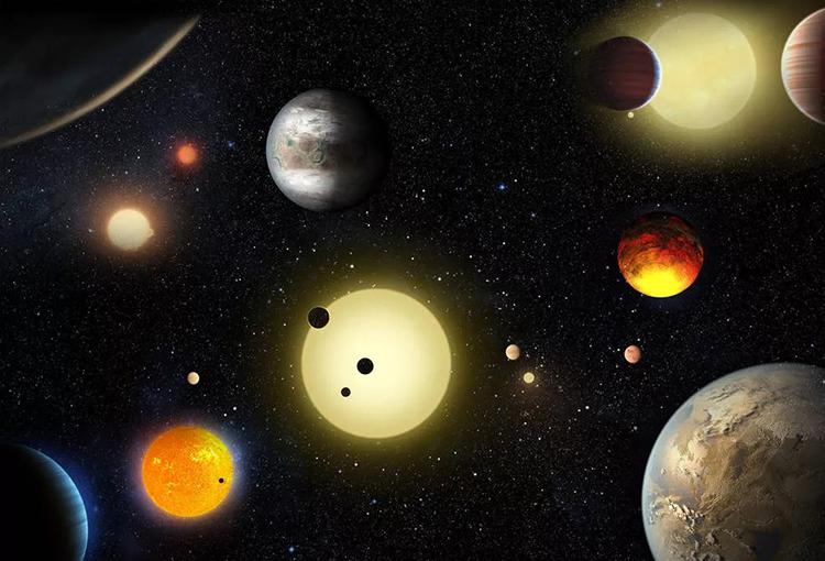Đồ họa mô phỏng một số ngoại hành tinh được phát hiện bởi kính thiên văn Kepler. Ảnh: W. Stenzel.