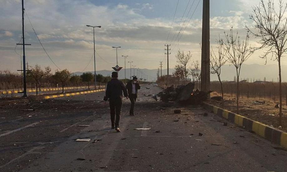 Vị trí xe bán tải chứa thuốc nổ được kích hoạt trong vụ ám sát Fakhrizadeh. Ảnh: Fars News.