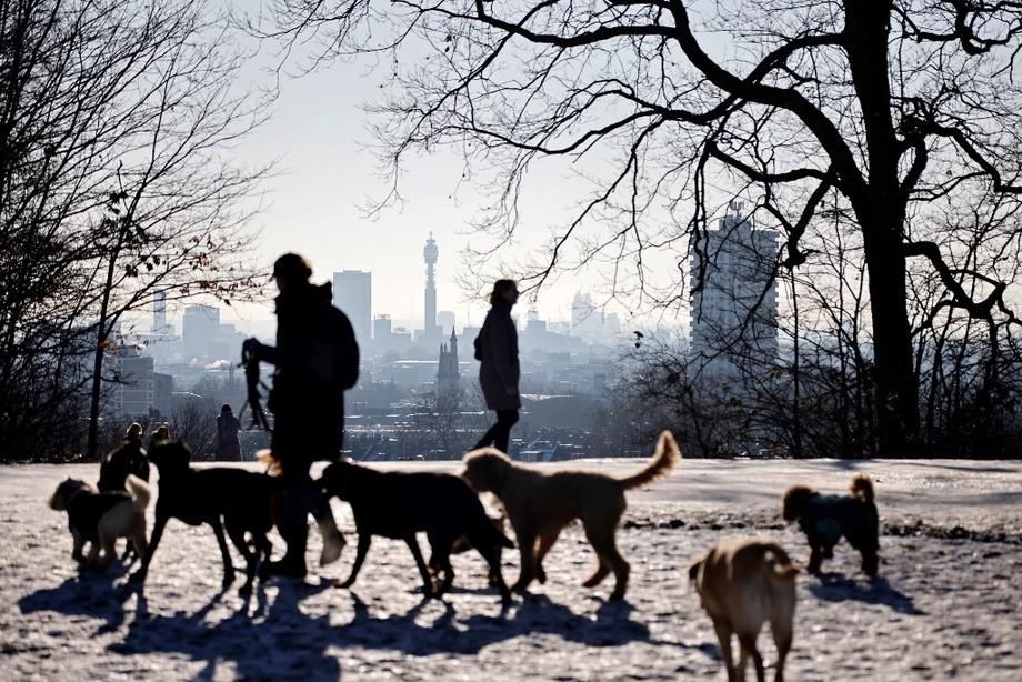 Người dân dẫn chó đi dạo ở London hôm 25/1 dưới lệnh phong toả. Ảnh: AFP.