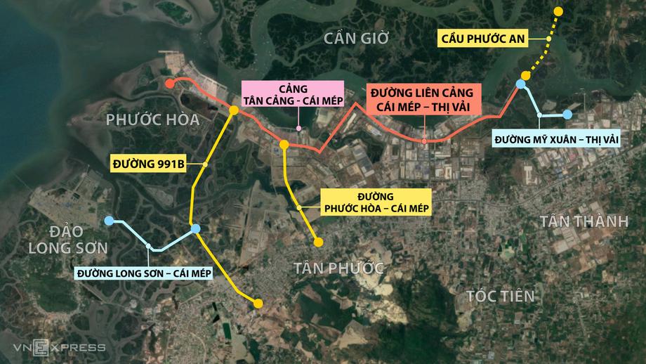 6 dự án giao thông kết nối cụm cảng Cái Mép – Thị Vải. Đồ họa: Thanh Nhàn