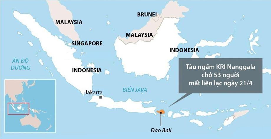 Tàu ngầm Nanggala mất tích ngoài khơi đảo Bali. Đồ họa: AFP.