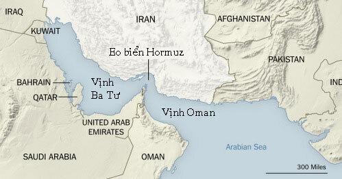 Vị trí eo biển Hormuz và vịnh Ba Tư. Đồ họa: NY Times.