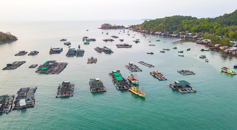 Lồng bè nuôi hải sản ở quần đảo Hải Tặc, xã Tiên Hải, TP Hà Tiên. Ảnh: Nguyễn Phương